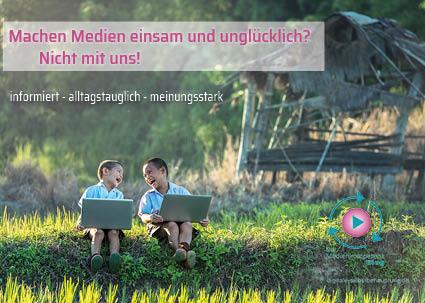 Postkarte: Medienglück